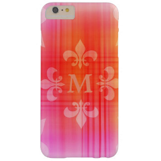 Personalized Pink Fleur de Lis Monogram Barely There iPhone 6 Plus Case