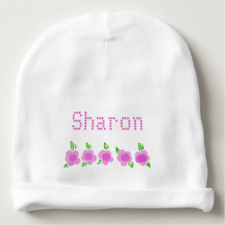 Personalized Pink Floral Baby Beanie