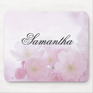 Personalized Pink Floral Mouse Pad