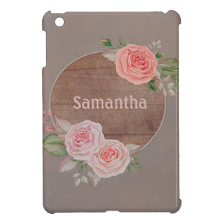 Personalized Pink Floral on Rustic Wood Monogram iPad Mini Cover