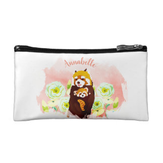 Personalized Pink Floral Red Panda Cosmetic Bag