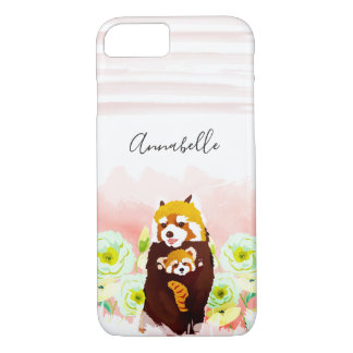 Personalized Pink Floral Red Panda iPhone 8/7 Case