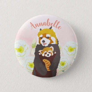 Personalized Pink Floral Red Panda Mom Baby Button