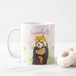 Personalized Pink Floral Red Panda Mom Baby Mug
