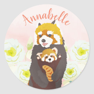 Personalized Pink Floral Red Panda Mom Sticker