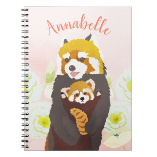 Personalized Pink Floral Red Panda Notebook
