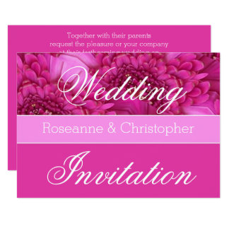 Personalized Pink Floral Wedding Invitation
