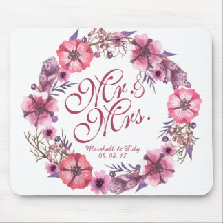 Personalized Pink Floral Wedding | Mousepad
