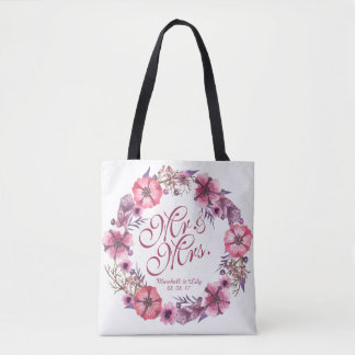 Personalized Pink Floral Wedding Tote Bag
