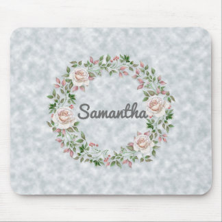 Personalized Pink Floral Wreath on Light Blue Mouse Pad