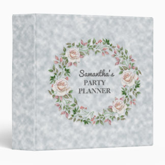 Personalized Pink Floral Wreath Party Planner Vinyl Binders