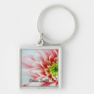 Personalized Pink Flower Closeup Keychain