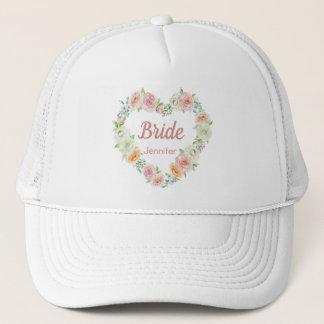 Personalized Pink Flower Heart Wreath Bride Trucker Hat
