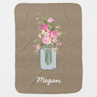 Personalized Pink Flower Mason Jar on Burlap Stroller Blanket