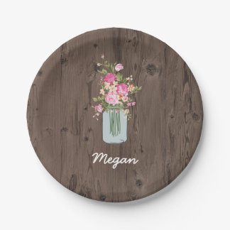Personalized Pink Flower Mason Jar on Dark Wood Paper Plate