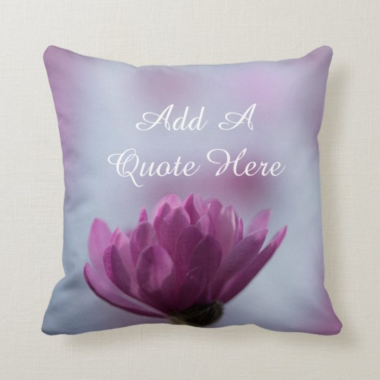Personalized Pink Flower Throw Pillow
