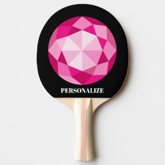 Personalized pink gemstone ping pong paddle