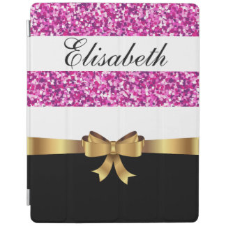 Personalized pink glitter Black  white Stripes BOW iPad Cover