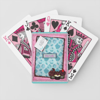 Personalized Pink Glitter Cupcake Playing Cards
