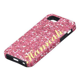 Personalized Pink Glitter IPhone5 vibe Case