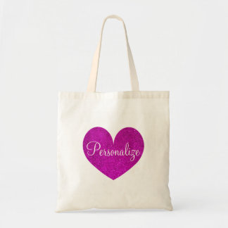 Personalized pink glitter love heart tote bag