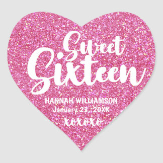 Personalized Pink Glitter Sweet Sixteen XOXOXO Heart Sticker