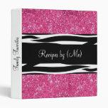 Personalized Pink Glitter Zebra Striped Recipe 3 Ring Binders