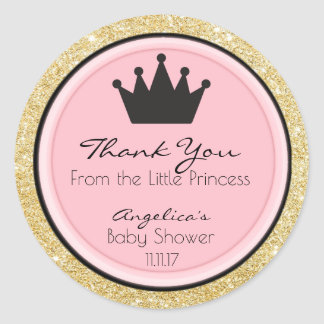 Personalized Pink Gold Princess Baby Shower Labels Round Sticker