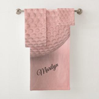 Personalized Pink Golf Ball Sport Bath Towel Set