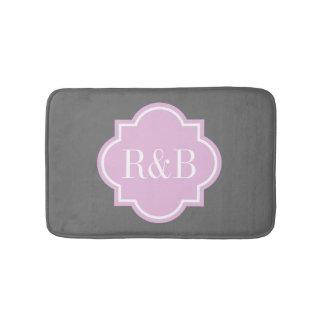 Personalized pink gray monogram non slip bath mat