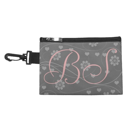 Personalized Pink Grey Add Initials Clip on  Bag