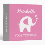 Personalized pink grey binder with baby elephant