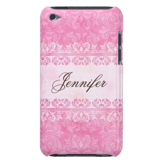 Personalized pink grunge damask iPod touch case