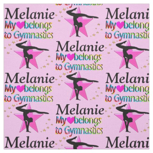 PERSONALIZED PINK GYMNASTICS STAR FABRIC