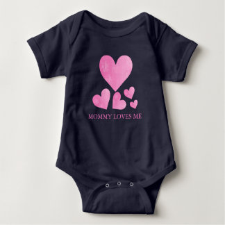 Personalized Pink Heart Baby Jersey Bodysuit