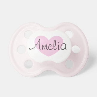 Personalized Pink Heart Baby Pacifier