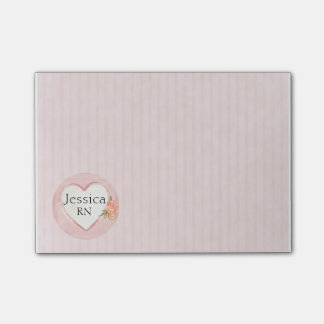Personalized Pink Heart & Rose Nurse, RN Post-it Notes