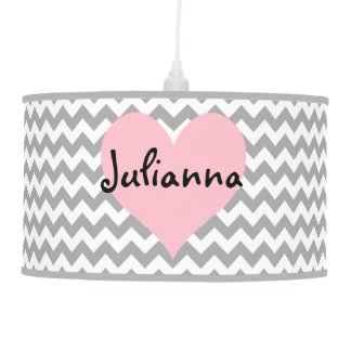 Personalized Pink Heart with Gray Zigzag Pendant Lamp
