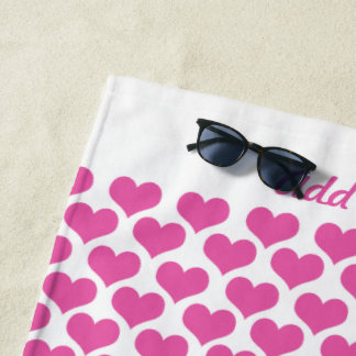 Personalized Pink Hearts Beach Towel