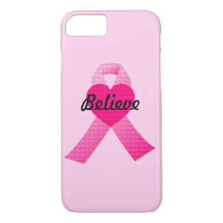 Personalized Pink Hearts Ribbon Breast Cancer iPhone 7 Case
