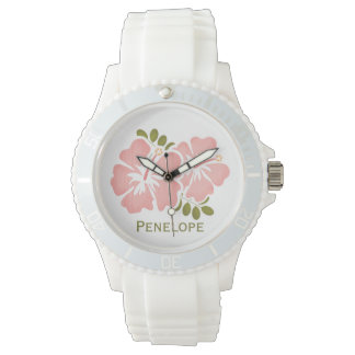 Personalized Pink Hibiscus Watch