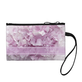 Personalized Pink Hydrangea Coin Purse