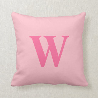 Personalized Pink Initial Throw Pillow