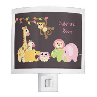 Personalized Pink Jungle Safari Night Light
