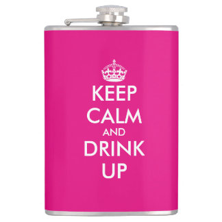 Personalized pink keep calm hip flask for women