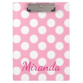 Personalized Pink Large Polka Dot Clipboard
