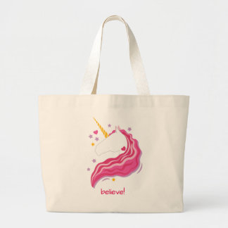 Personalized Pink Magical Unicorn Large Tote Bag