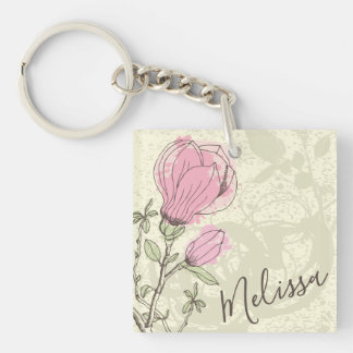 Personalized Pink Magnolia Bloom Keychain