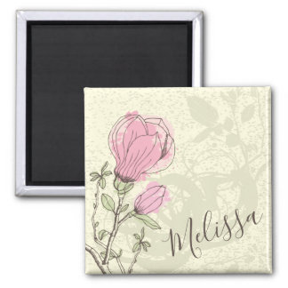 Personalized Pink Magnolia Bloom   Magnet