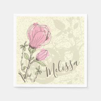 Personalized Pink Magnolia Bloom | Napkin